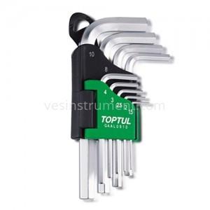 Набор шестигранных ключей TOPTUL 1.5 - 10 мм / 9 ед. (стандарт)