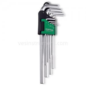 Набор шестигранных ключей TOPTUL 1.5 - 10 мм / 9 ед. (длинные)