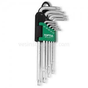 Набор шестигранных ключей TOPTUL TORX T10 - T50 / 9 ед. (длинные с отверстием)