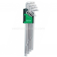 Набор шестигранных ключей TOPTUL TORX T10 - T50 / 9 ед. (супердлинные)
